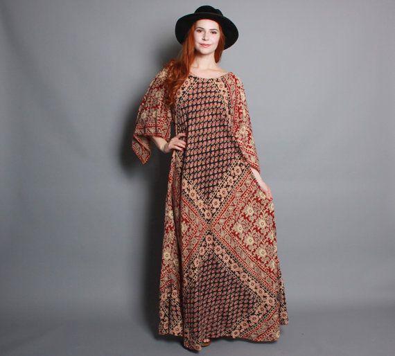 70s BATIK MAXI Dress / Pointed Sleeve Ethnic Indian Cotton CAFTAN ...
