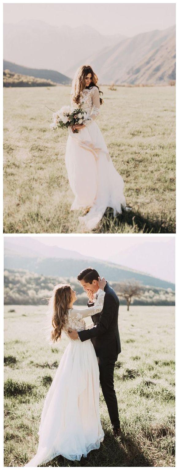 Long sleeve ivory wedding dress  Long Sleeve Rustic Weding Dresses Lace Appliqued Ivory Beach Wedding