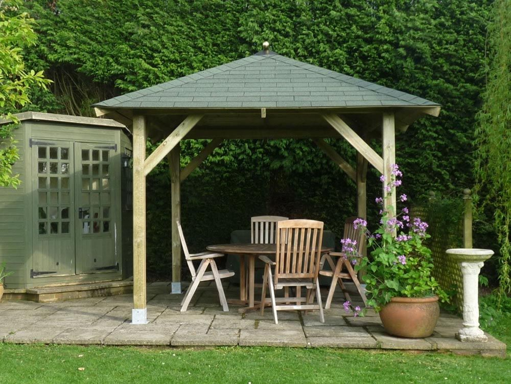 Square Wooden Gazebo Kits | Pergola | Wooden garden gazebo, Wooden