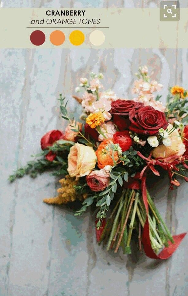 Wedding Colors Cranberry Peachy Orange Yellow Cream Sage Green Fall Wedding Bouquets Fall Wedding Color Palette Wedding Bouquets