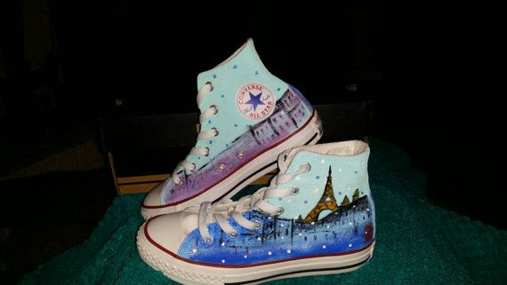 Paris themed Converse shoes by TheOnePerfectPiece on Etsy