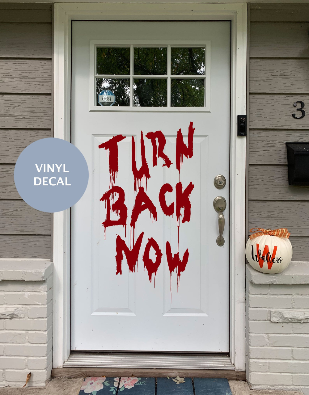 """Add a spooky Halloween Door Decal this Halloween to add a creepy decoration to your Trick r' Treaters this year. This can also be used as a Window Decal. Take your Halloween Decor to another scary level this year with some Door and Window decals! These work on any lightly textured surface.  📦Contents📦 ONE self-adhesive Turn Back Now DECAL Matte wall decal with transfer tape Size of decal (please choose size on checkout) Installation instructions View our shop for more amazing HALLOWEEN designs here. https://www.etsy.com/shop/HarborDesignCo?ref=shopsection_shophome_leftnav&section_id=20229096 View our Entire Shop here. https://www.etsy.com/shop/HarborDesignCo?ref=shopsection_shophome_leftnav#reviews 🏃♂️🏃♂️🏃♂️ NEED A RUSH??? Within 7 Business days also check out with this listing to make sure your order arrives on time! https://www.etsy.com/listing/717974353/rush-order-harbor-design-co-faster-order?ref=shop_home_active_4&frs=1 ‼️‼️Decals are removable but not reusable. ‼️‼️ -The color of your surface will be the """"background color"""" of the pattern.  -Some installation work will be required!  -Vinyl is meant for smooth non rough surface. Different surfaces may have different effects for stickiness and longevity of decals life."""
