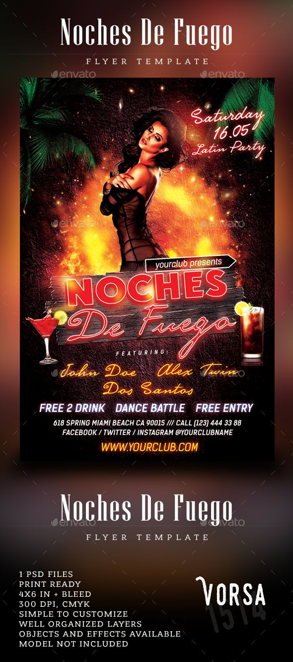 Noches De Fuego Latin Party Flyer  Latin Party Party Flyer And