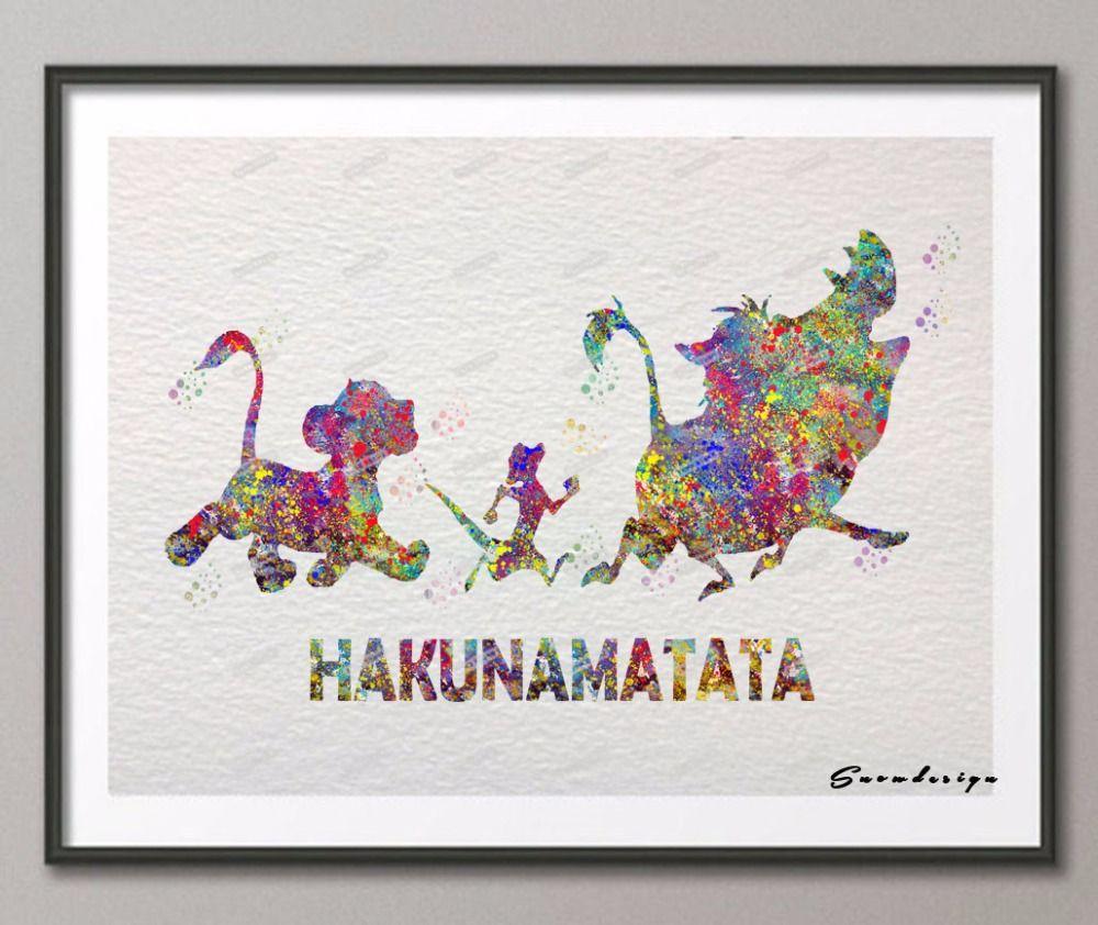 Diy aquarelle originale lion roi hakunamatata devis toile peinture mur art affiche impression - Tenture chambre bebe ...