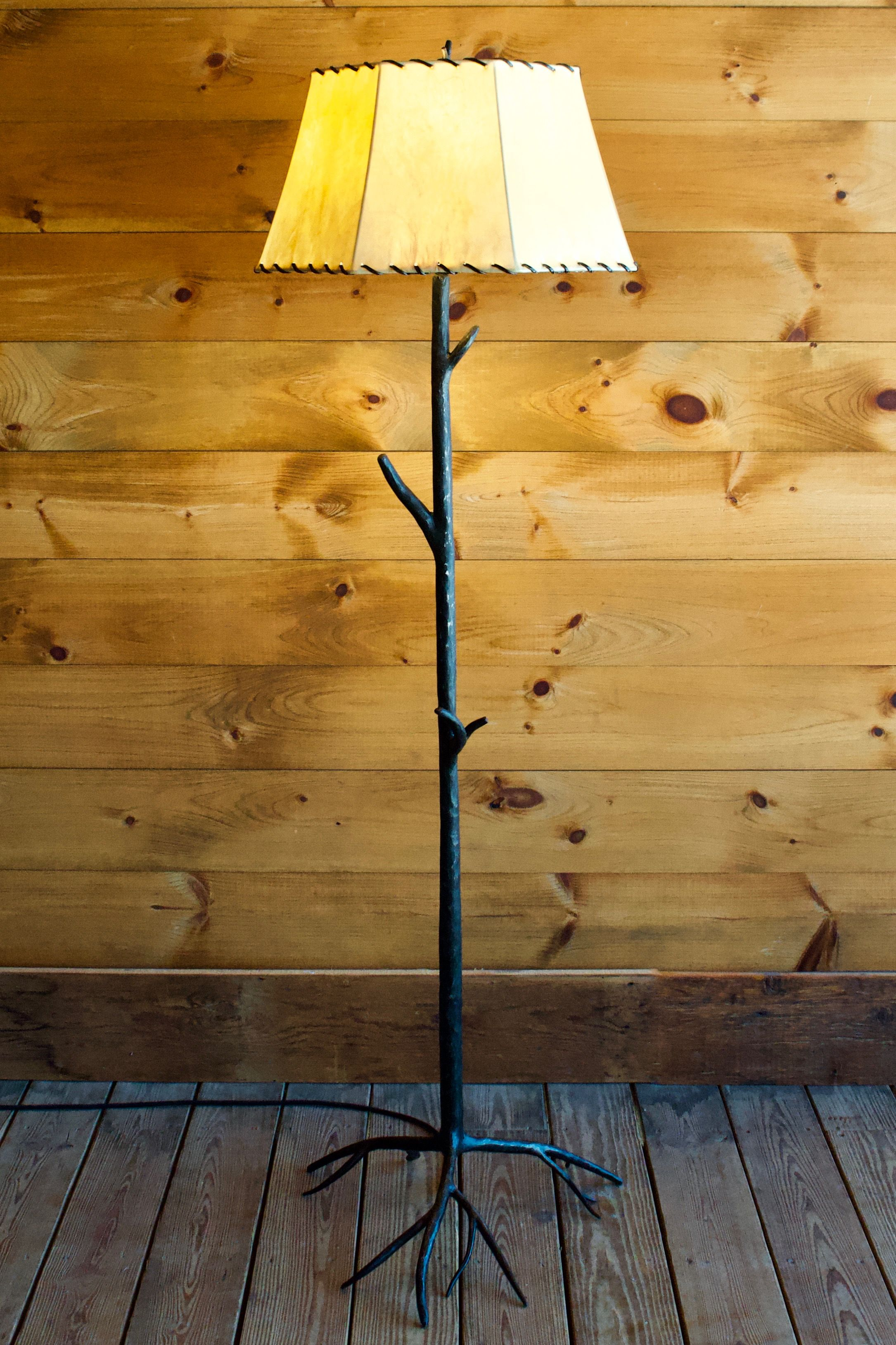 Shop The Hand Forged Iron Tree Lamp With Rawhide Shade And More