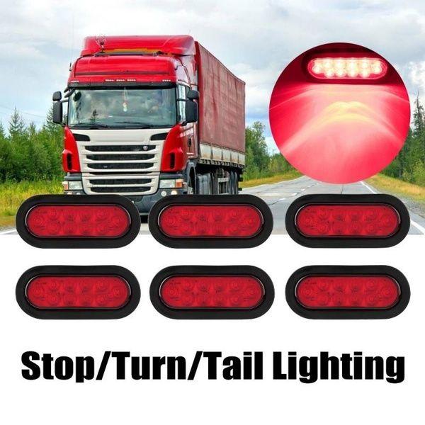 6pcs 12v 10leds Trailer Lights Lamps Stop Turn Tail Lighting For Trailer Truck Lamp Light Led Trailer Lights Rubber Grommets