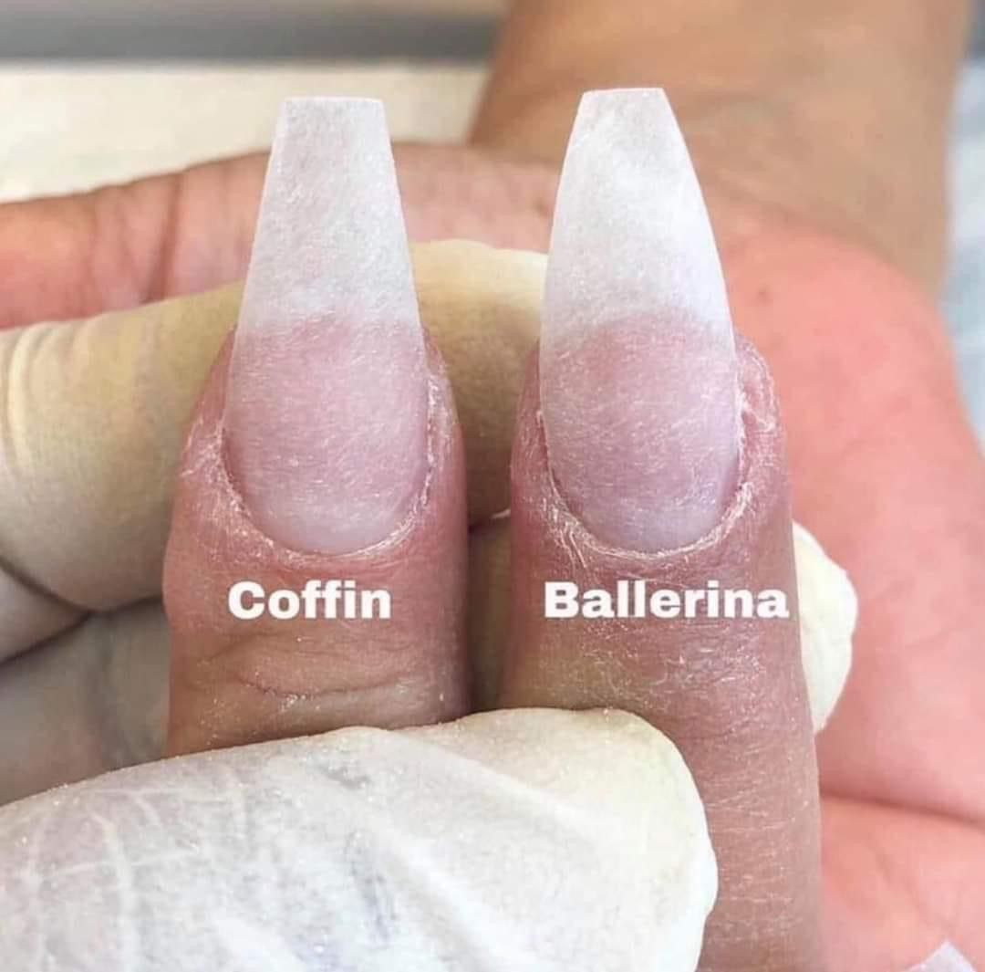 Coffin And Ballerina Difference Forma De Uñas Acrilicas Tipo De Uñas Acrilicas Formas De Las Uñas