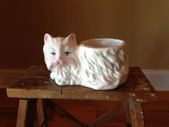 Vintage Cat Planter Small White Ceramic Persian by StylishPiggy, $12.00