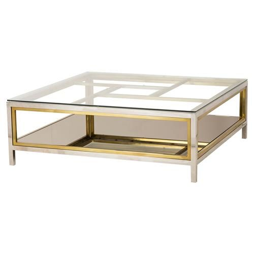 Boyd Windmill Regency Glass Silver Gold Coffee Table Stainless
