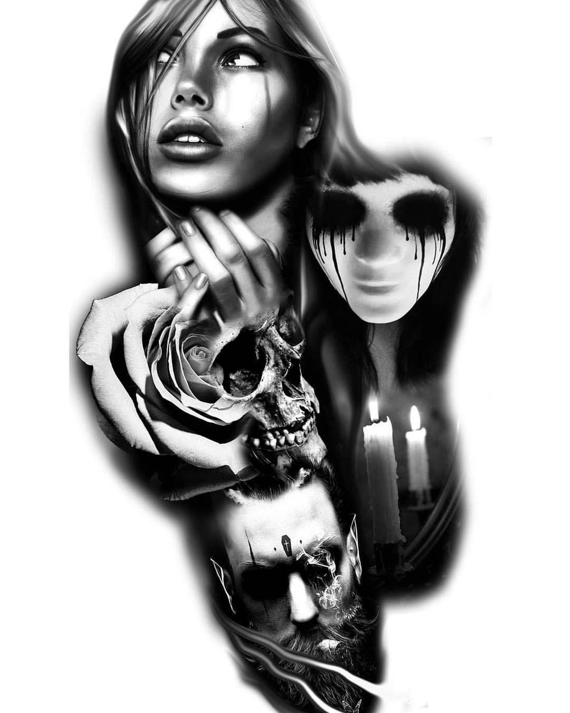 Black And Grey Tattoo Stencil: #sleeve #dark #black #grey #tattoo