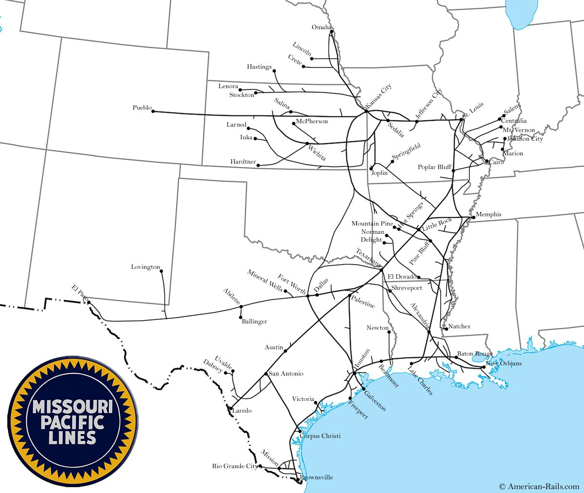 Missouri Pacific Railroad Map Missouri Pacific RR Pinterest - Us railroad map 1865