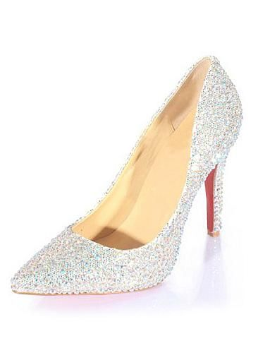 b3387bd0e1a Glamorous Sheep Leather Silver Stiletto Heel Closed Toe Bridal Party    Evening Shoes