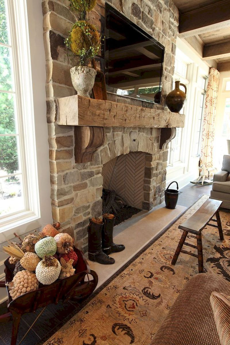 80 Incridible Rustic Farmhouse Fireplace Ideas Makeover 29
