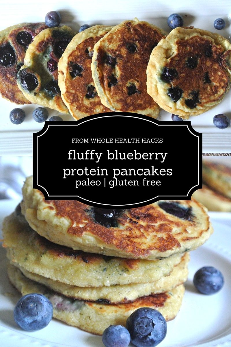 Fluffy Blueberry Protein Pancakes (Paleo and Gluten Free)