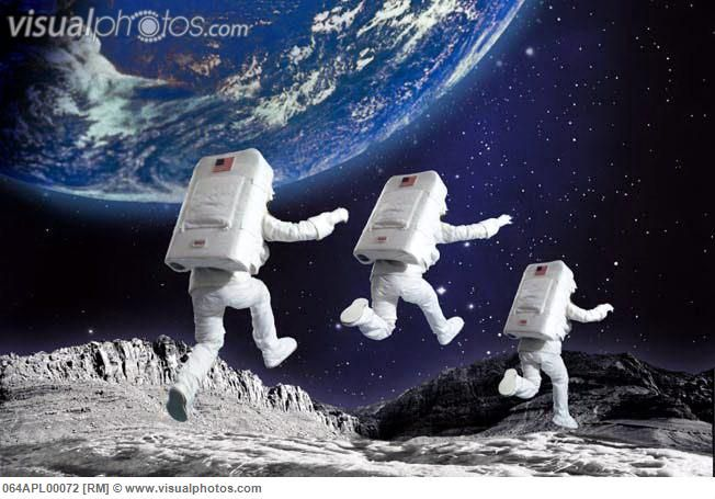 astronauts jumping on the moon - photo #1