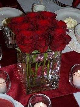 Wedding, Flowers, Reception, Red, Centerpiece, Decor, Roses