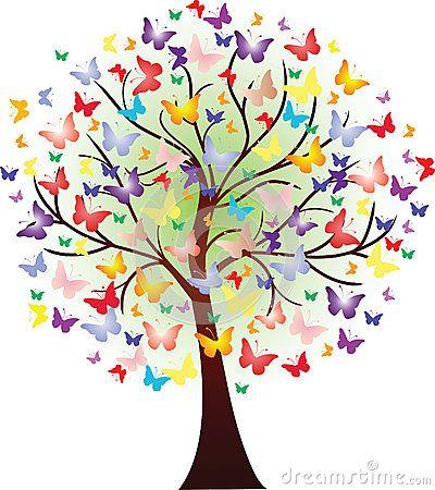 rbol hermoso de la primavera del vector consistiendo en mariposas pinterest. Black Bedroom Furniture Sets. Home Design Ideas