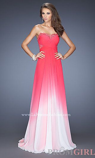 Strapless Ombre Lace Prom Dress by La Femme at PromGirl.com   PROM ...