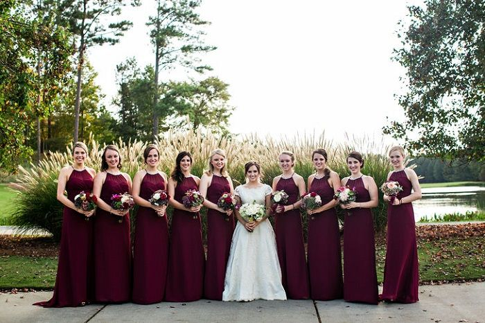 Burgundy with floor-length halter neckline bridesmaid dresses | fabmood.com #bridesmaids #burgundy