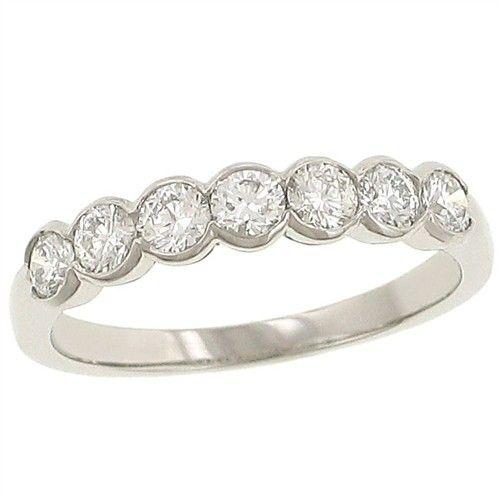 Ladies 7 Stone Round Half Bezel Set Diamond Wedding Band 64cttw