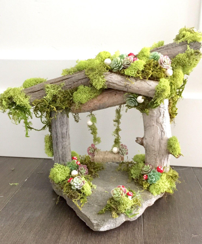 Garden party fairy SWING centerpiece,fairy garden,Rustic Shabby Chic