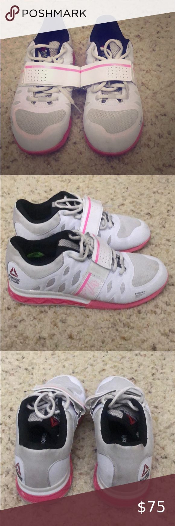 Photo of Reebok CrossFit powerlifting shoe Pink and white powerlifting shoe, like new , w…