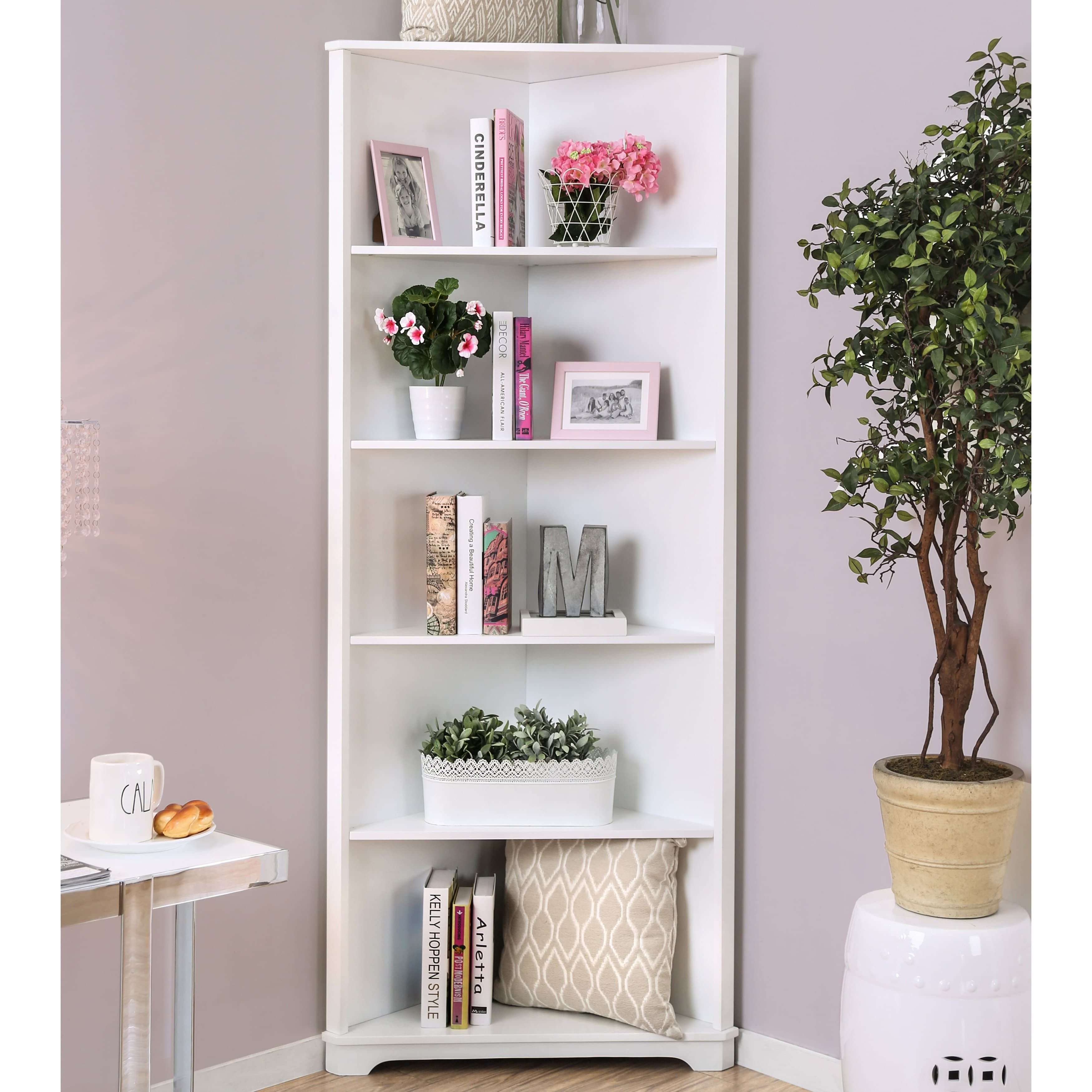 Furniture Of America Copley Contemporary Corner 5 Tier Bookshelf Espresso Black