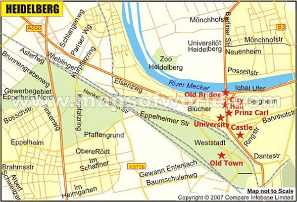 heidelberg map acts as a guide to the city of heidelberg providing detailed information on tourist places in heidelberg major roads and streets of