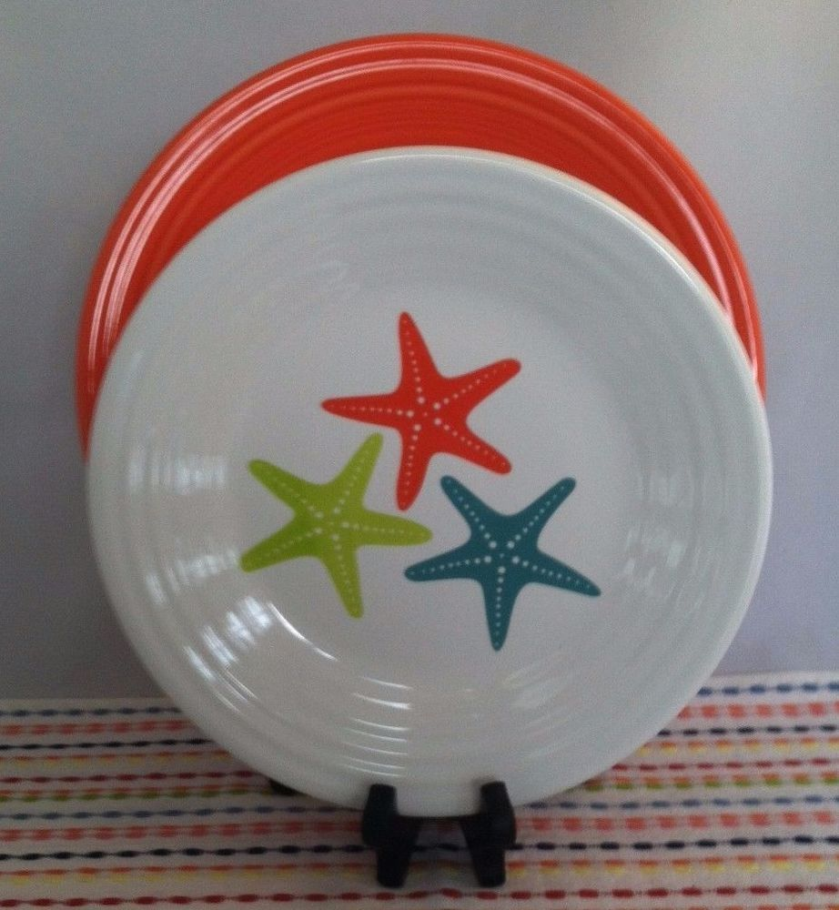 Fiesta® \ Starfish\  Luncheon Plate displayed with coordinating Poppy Fiesta® Dinner Plate. & Fiesta® \