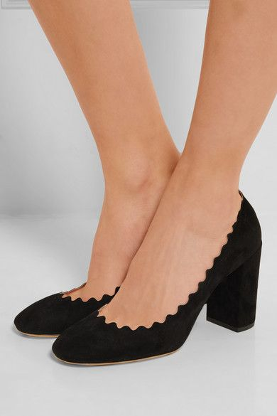c2a1b766e1a CHLOÉ Scalloped suede pumps Heel measures approximately 85mm  3.5 inches Black  suede Slip on