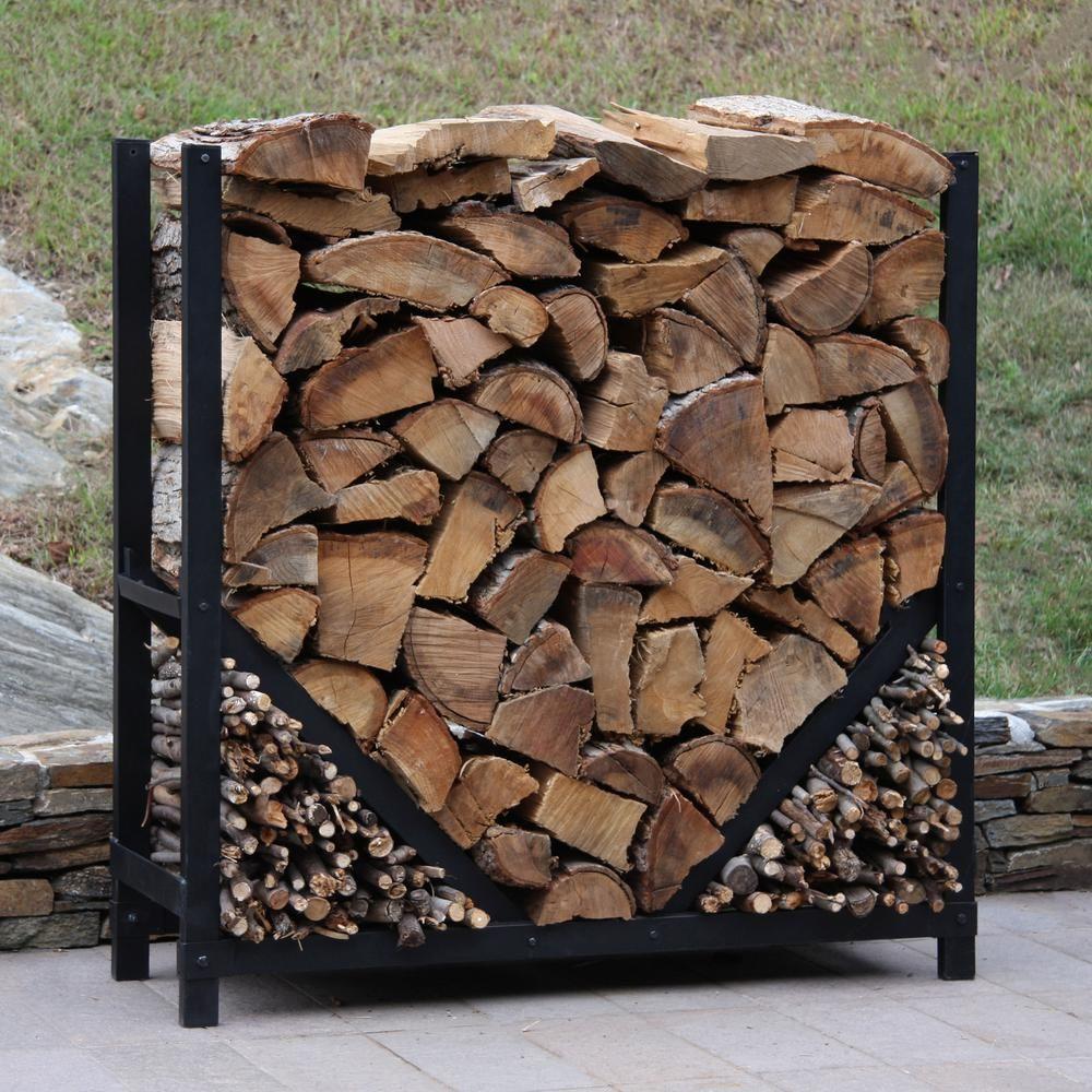 Shelterit Shelterit 4 Ft Firewood Log Rack With Kindling Wood