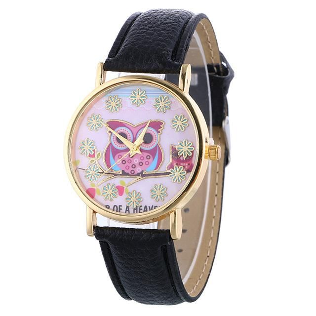 Women Colorful Crystal Owl And Flower Pattern Wrist Watch