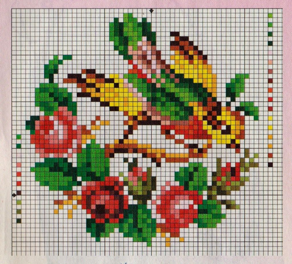 Цветы и птицы вышивка крестом схемы бесплатно
