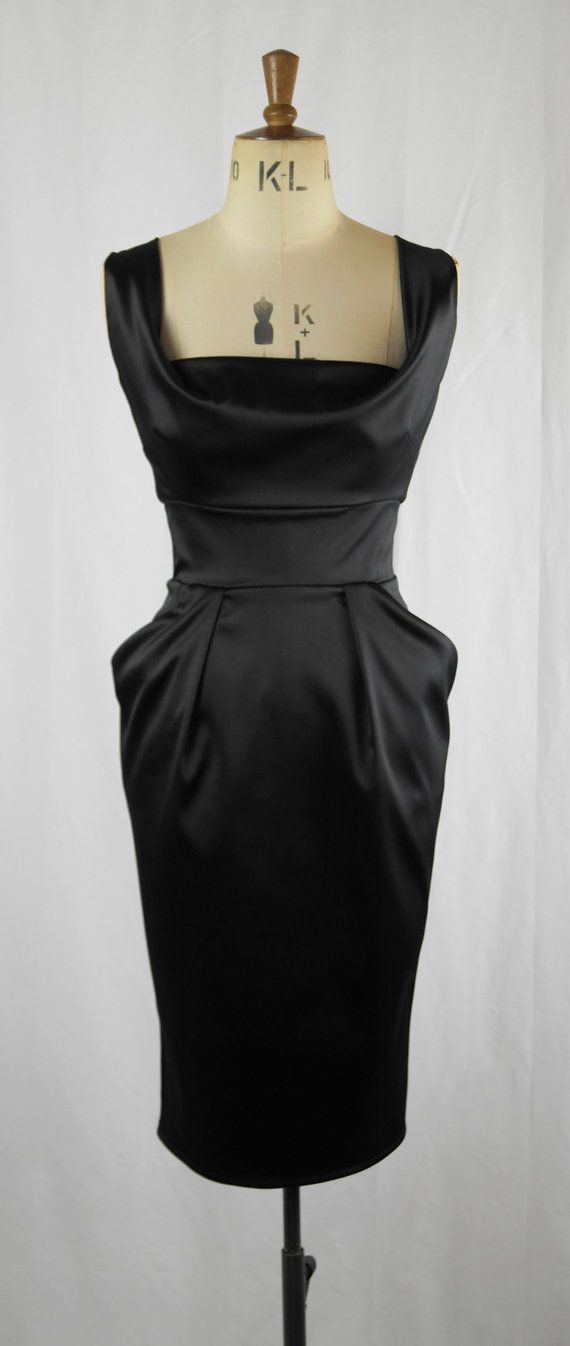c0f53260189dc Baylis Knight Black Satin 50 s Retro Wiggle Bombshell Drape Knee Dress  Burlesque Dita Pin Up