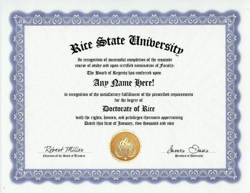 Rice Degree Custom Gag Diploma Doctorate Certificate (Funny