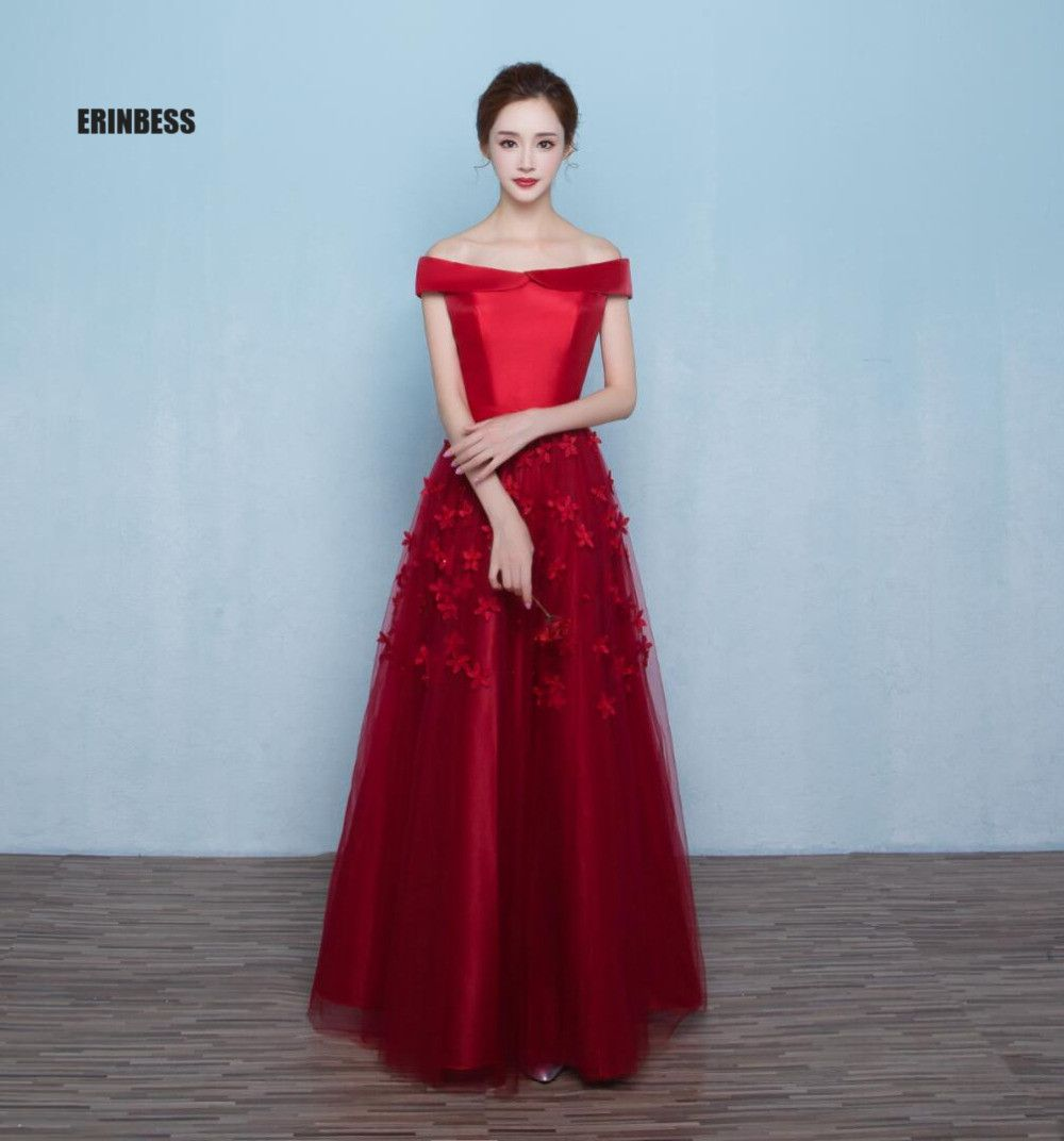Click to buy ucuc real photos boat neck long red prom dresses vestido