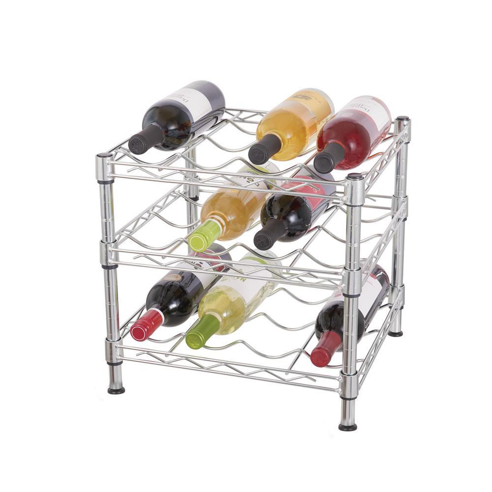 Hdx 3 Tier Wire Countertop Wine Rack In Chrome Countertop Wine