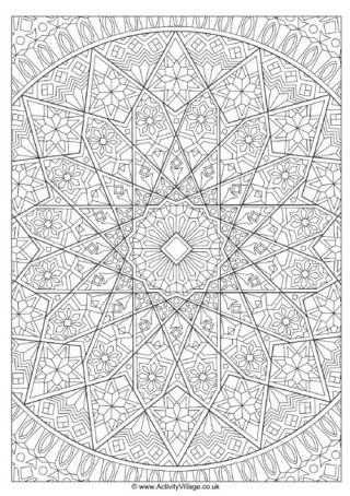 Islamic Design Colouring Page 1 | World Cultures Celebrations ...