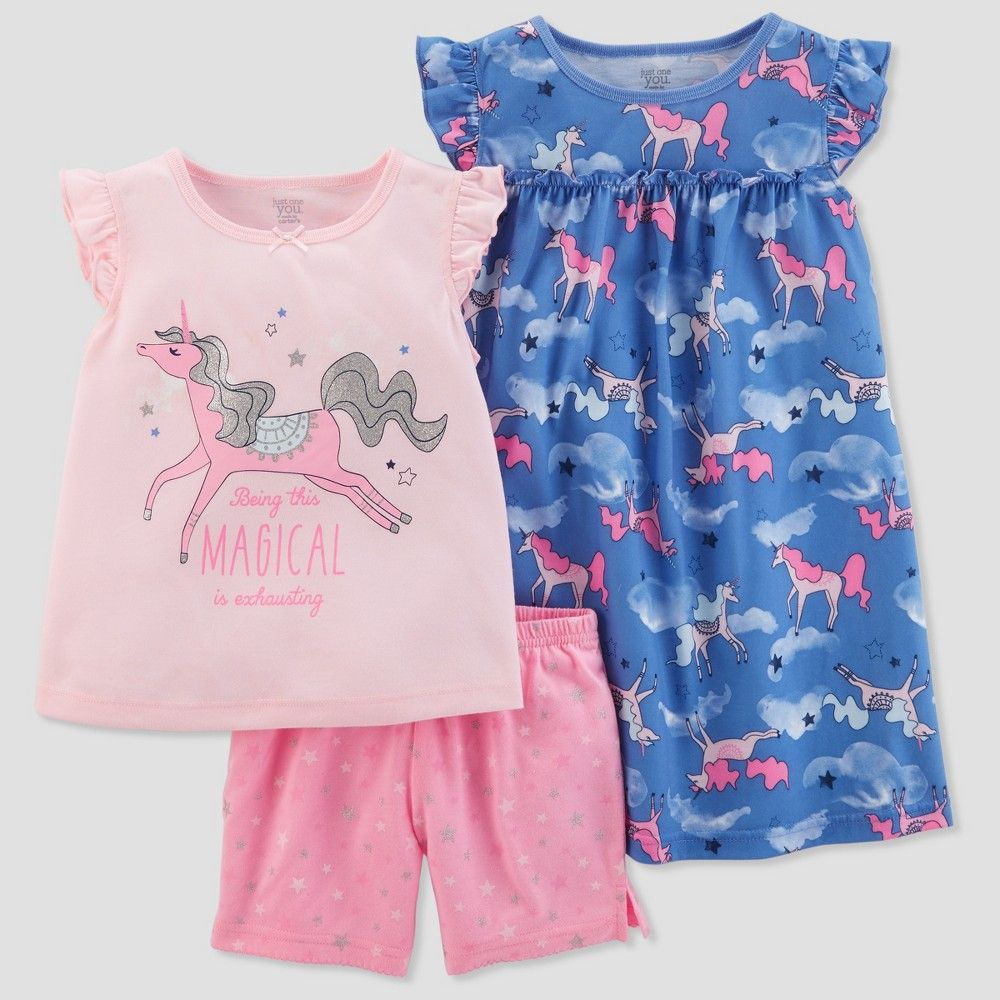 28deb979d2 Girls  3pc Poly Unicorns Pajama Set - Just One You made by carter s Sun  Bleached Purple 8