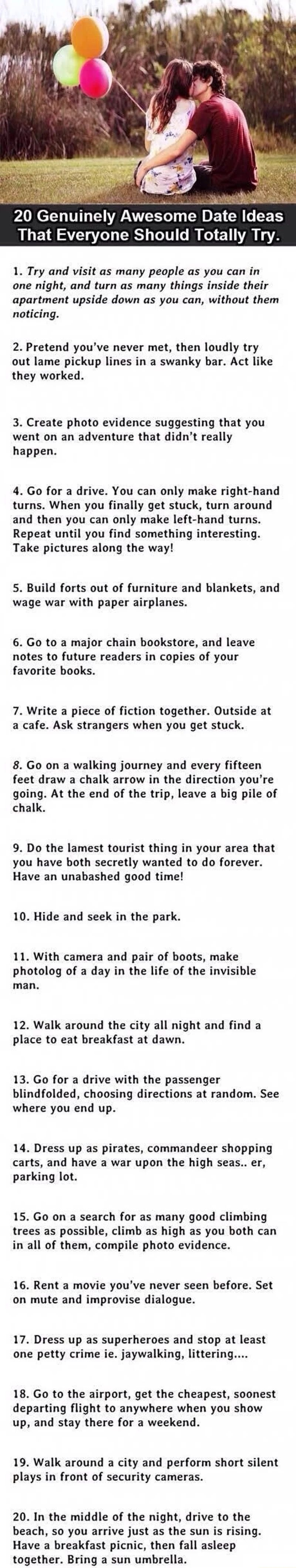 Things to do with someone you are dating