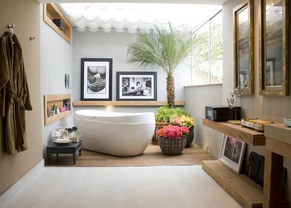 ... And Indoor House Plants Also Insert To Wall Wooden Shelves With Black  And White Framed Pictures Ideas. Cozy And Natural Japanese Style Bathroom  Design