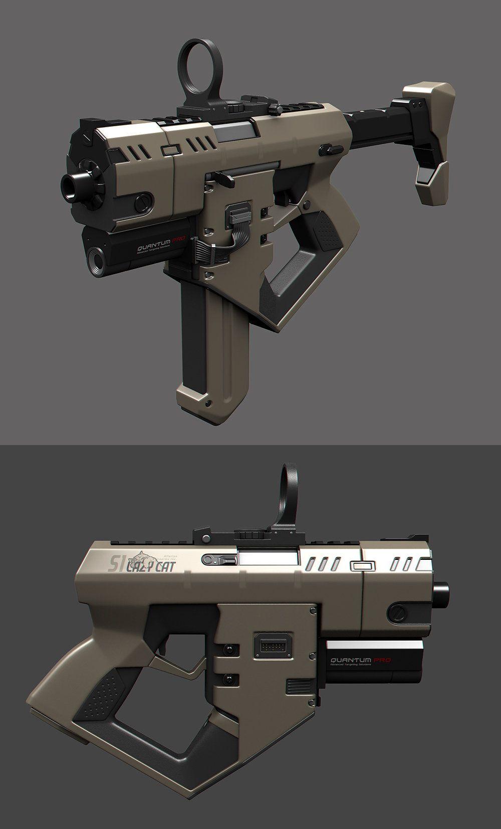 A small submachine gun with underbarrel railgun and cloaking