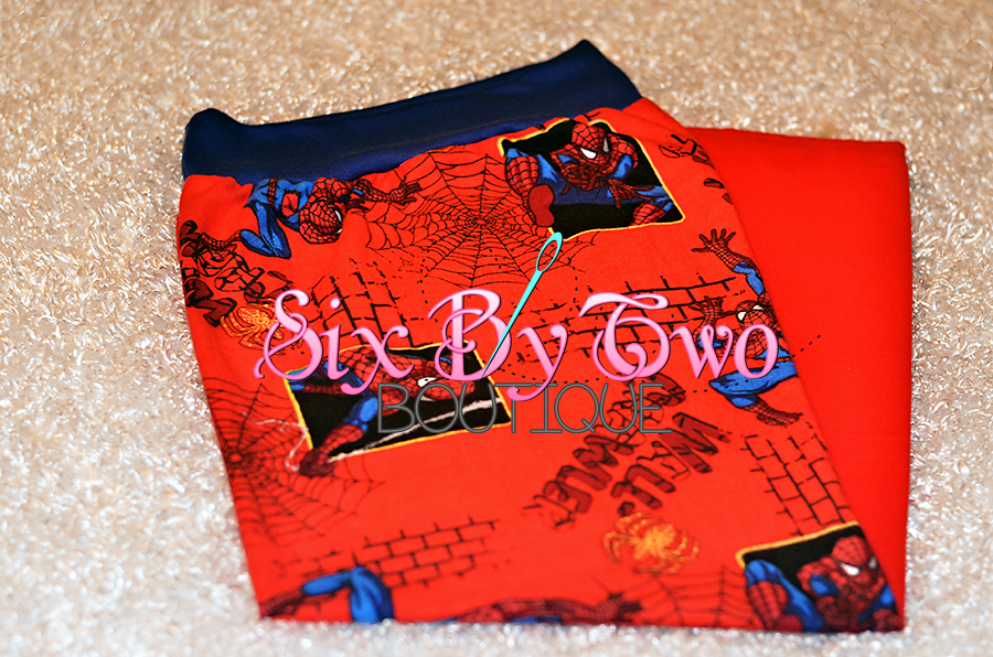 Spider man & solid red Big Boy pj pants by SixByTwoBoutique on Etsy