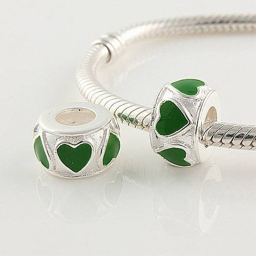 925 Sterling Silver Green Enamel Hearts Charm Love by ChainsCharms, $16.99