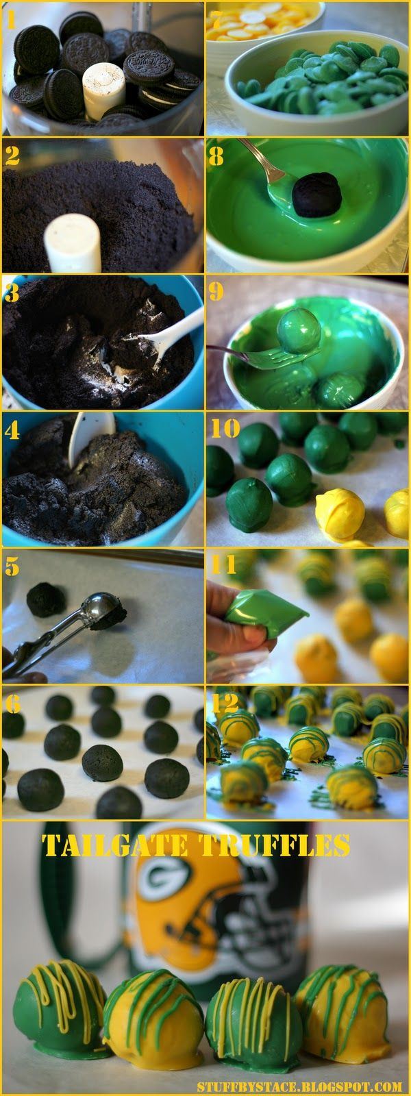 Tailgate truffles are an easy, and delicious, dessert! Add some spirit by changing the colors to match your team' colors!