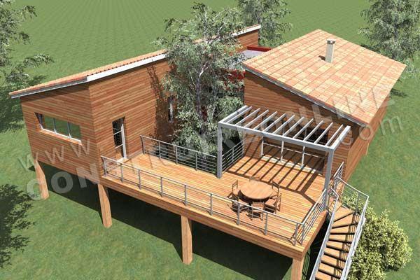 Plan de maison contemporaine bois pilotis podihome vue for Plans de maison construits pour une vue