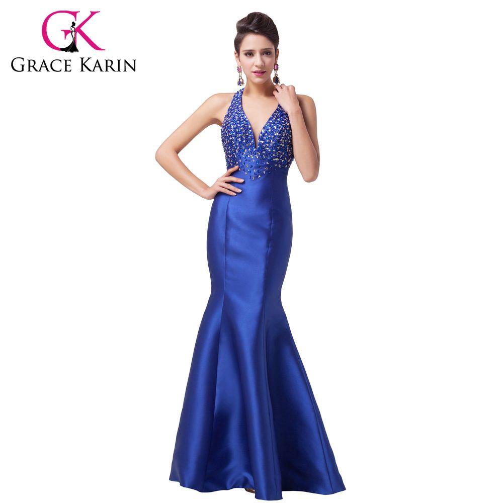 Grace karin new satin royal blue trumpet mermaid prom dresses dance
