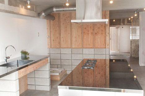 Concrete Block And Plywood Kitchen House K By Tank Kitchen Bath