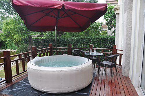 Homax Inflatable 264 Gallons(1000 Liter) SPA 6-Person 130 Air Jets Include Accessories Round Portable Hot Tub SPA Easy Plug N Play, Light Grey
