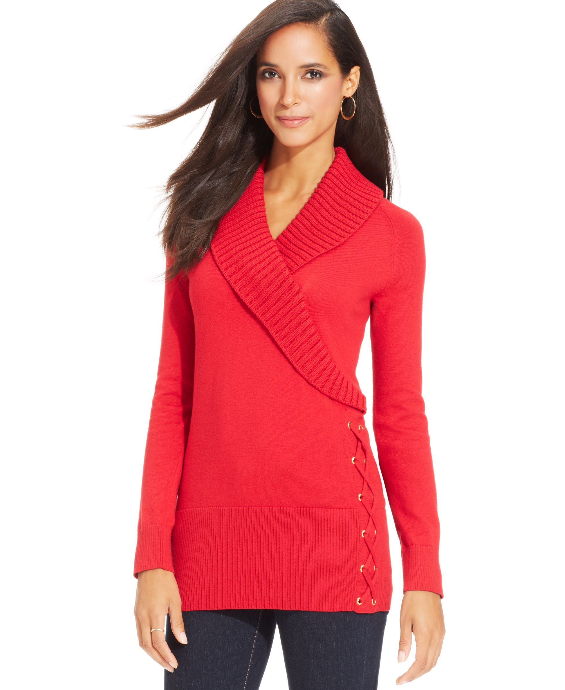 Style&co. Petite Shawl-Collar Lace-Up Tunic Sweater | Products ...